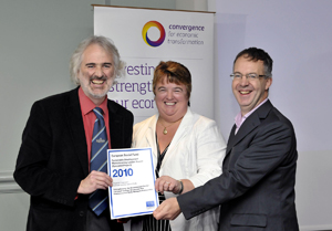 Wendy Violentano presents Phil Legrice and Ian Smith with their ESF award