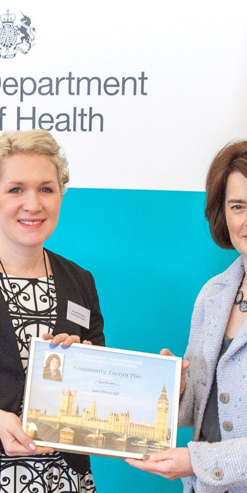 Image: Nicola McCheyne accepts award from Jane Ellison, Parliamentary Under Secretary of State for Public Health at the Department of Health